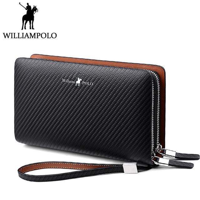 Genuine Leather Business Men wallets Flap Hand bag Double Zipper Handy Clutches Wallet Large Clutch bag
