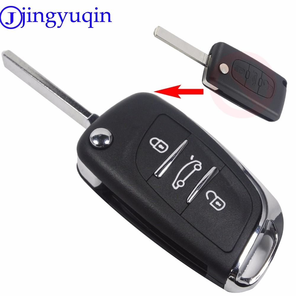 Uncut Blade 3 Buttons Flip Remote Key Shell Cover For PEUGEOT 207 307 308 For Citroen C2 C3 C4 C5 C6 C8 Without Groove CE536