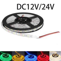 DC12V DC24V светодиодный полосы света SMD 5050 DC 12 V 60 светодиодный/M светодиодный освещение Гибкая светодиодная лента Водонепроницаемый Диодная лен...