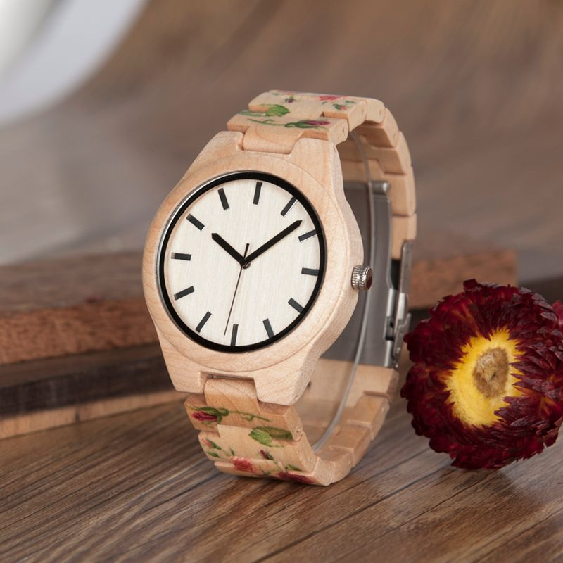 Printing Flowers BOBO BIRD L-L26 China Supplier High Quality Custom Logo Maple Wrist Watch Men Wood Watch OEM