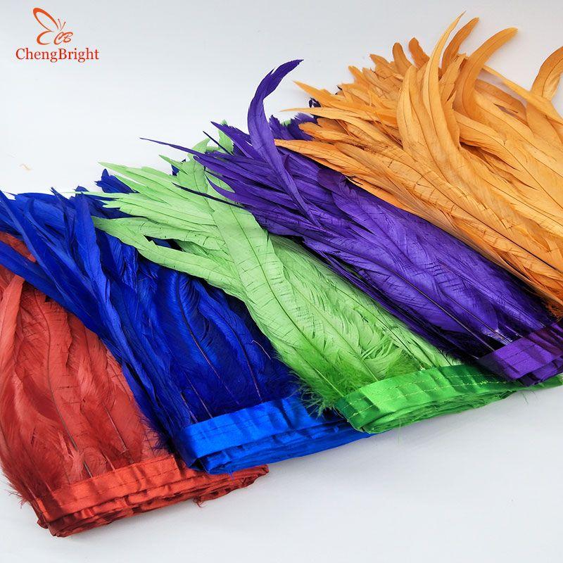 CHENGVRIGHT 25-30cm Gold Rooster Schwanz Trimmen Coque Feder Trimmen/Band Für Handwerk Kleid Rock Karneval Kostüme plumes