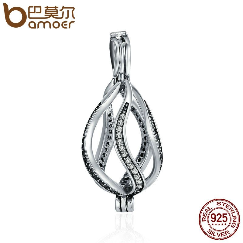 BAMOER Authentic 925 Sterling Silver Twisted Wave Line Circle Cage Pendant Clear CZ Pendant fit Chain Necklace jewelry SCP030