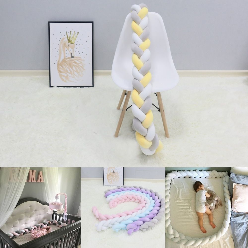 1Pcs 1M/2M/3M Baby Handmade Nodic Knot Newborn Bed Bumper Long Knotted Braid Pillow Baby Bed Bumper Knot Crib Infant Room Decor