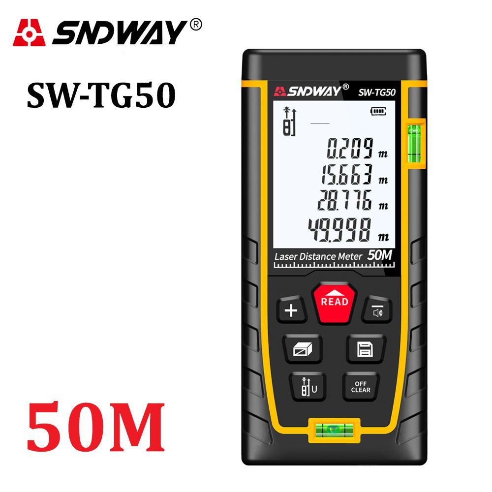 SNDWAY New Laser distance meter 50m range finder rangefinder measure tape laser roulette tools Diastimeter build device SW-TG50