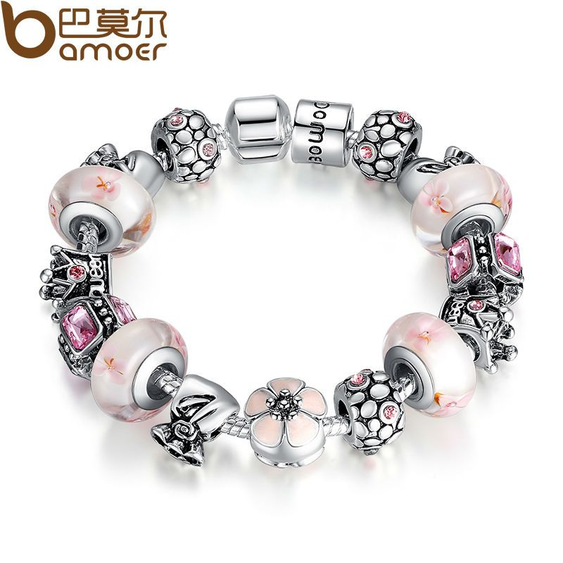 BAMOER Silver Color Crown Pink Purple Exquisite Murano Beads Bracelet for Christmas Presents PA1870