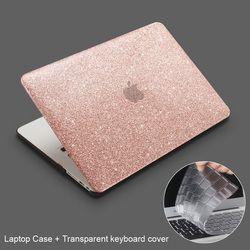 Pour Macbook Air Pro Retina 11 12 13 15 pouce avec Tactile Bar Nouveau, ZVRUA Briller Laptop Case + couvercle du clavier Transparent