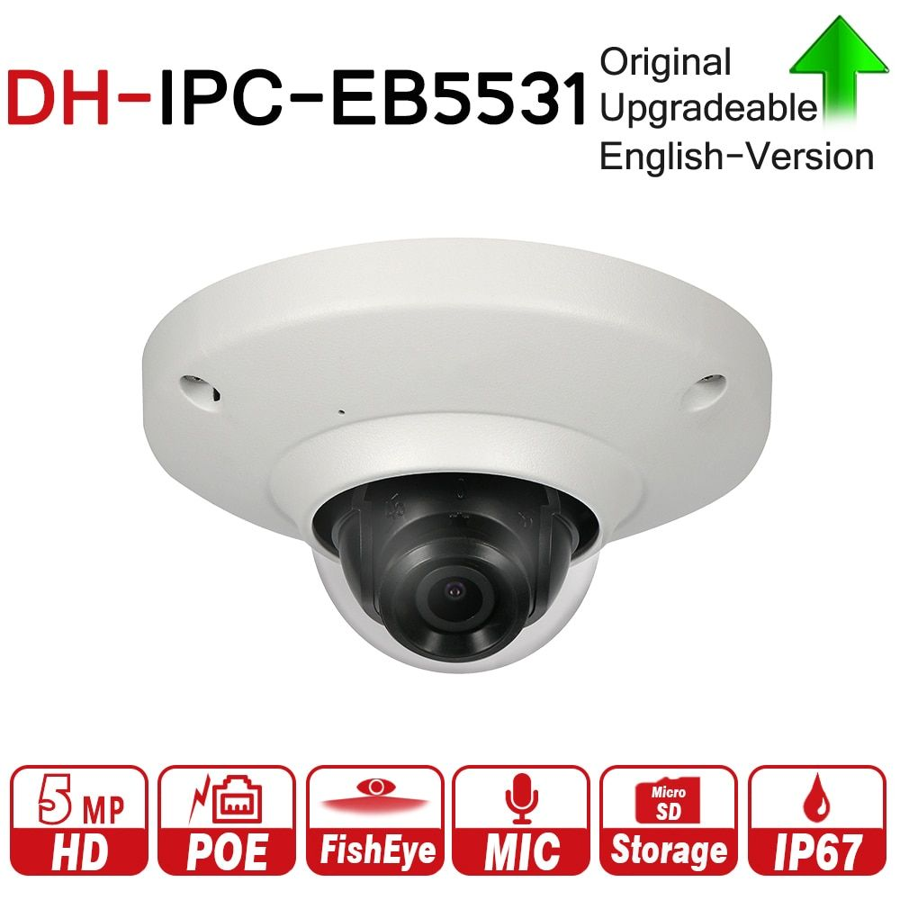 DH IPC-EB5531 with logo 5MP Panoramic Network 1.4mm Fisheye Camera H.265/H.264 3DNR AWB AGC BLC IP67 PoE Detection Built-in Mic