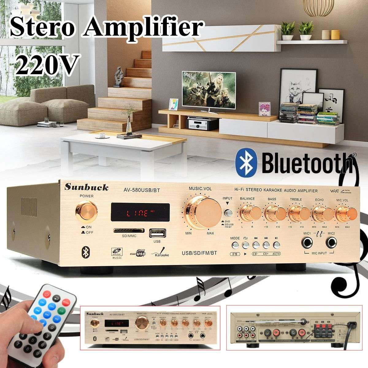 580BT 5CH 220V Stereo Amplifier Sound Mode Audio Music Booster Card Remote Control Built-in Bluetooth Amplifier For home
