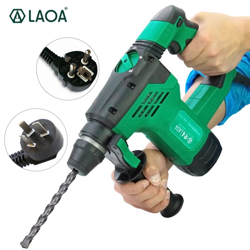 LAOA 3 in 1 Electric Drills 800W Rotary Electrical Hammer 30mm Impact Drills Power Drill for Wall Concrete Ceramic Drilling