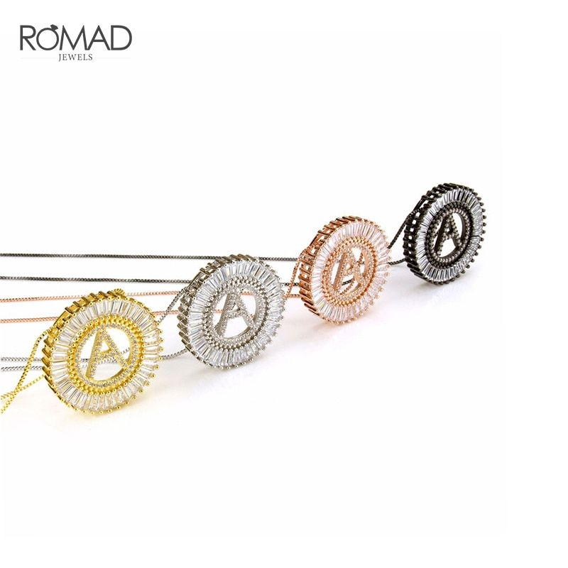 ROMAD A-Z Initial Necklace for Women Letter Necklaces Pendants Cubic Zirconia Necklace Hip hop Jewelry Gold Name collares R4