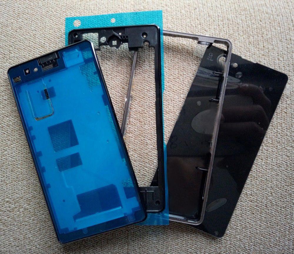 Vollständige Gehäuse Vorne Chassis + Mittleren Frame + Port Stecker Abdeckung + zurück Battery Cover + Aufkleber für Sony Xperia Z1 Compact D5503