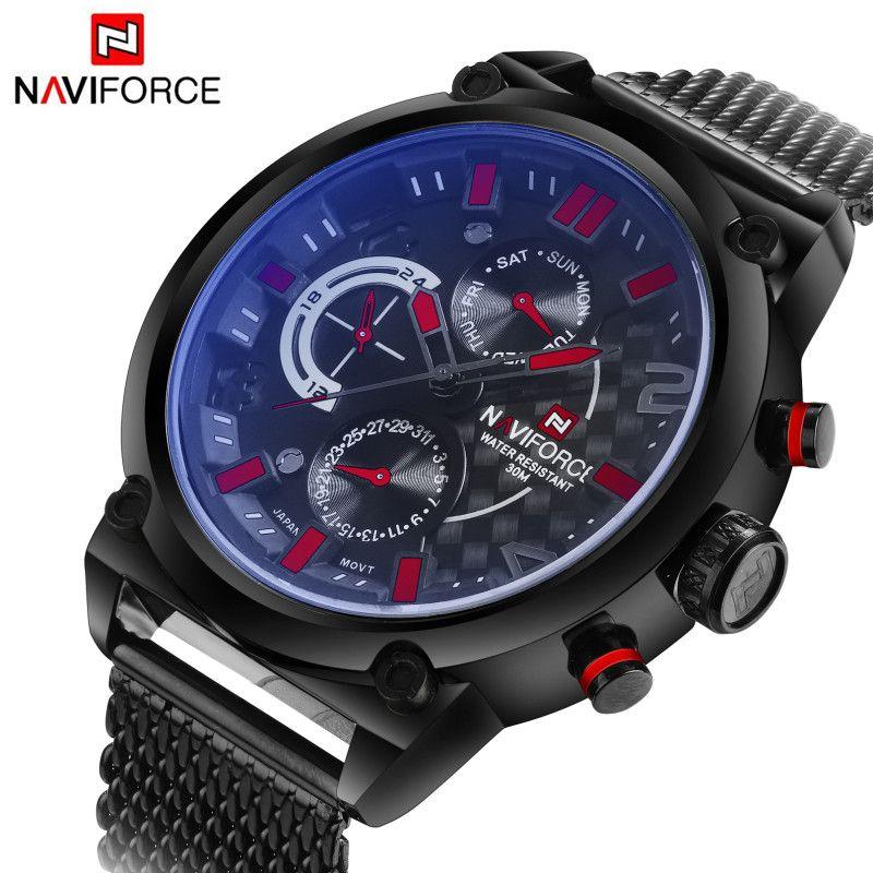 Luxury Brand <font><b>Naviforce</b></font> Stainless Steel Analog Men's Quartz Date Clock Fashion Casual Sports Watches Men Military Wrist Watch