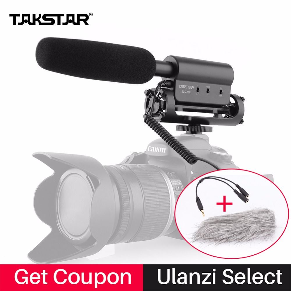 Takstar SGC-598 Condenser Microphone Interview Video Recording Camera Mic for Nikon Canon DSLR Youtube Live Vlogging sgc 598