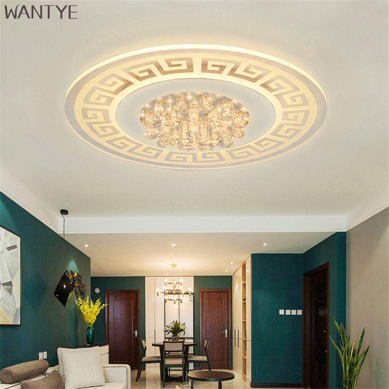 Redonda moderna Lámpara de Luz de Techo Montado En Superficie Lámparas de Techo de Cristal LED Chino dormitorio sala de estar accesorios de Iluminación