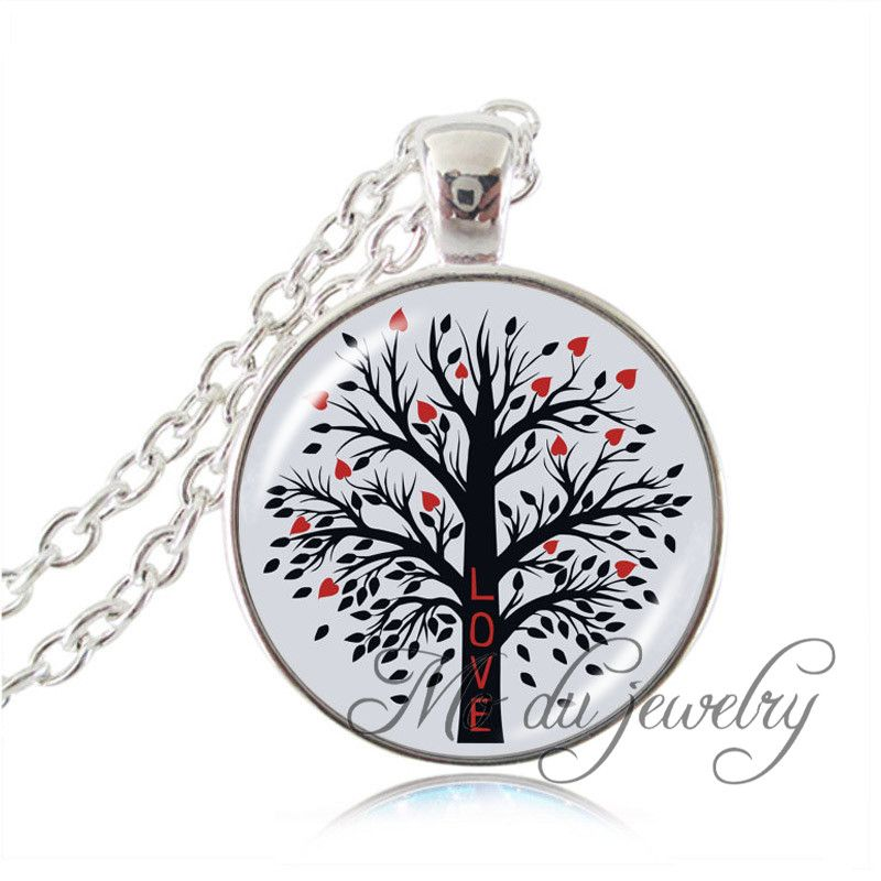 Fashion Life Tree Pendant Necklace for Women Glass Dome Jewelry Silver Plated Round Glass Pendant Choker Statement Necklace