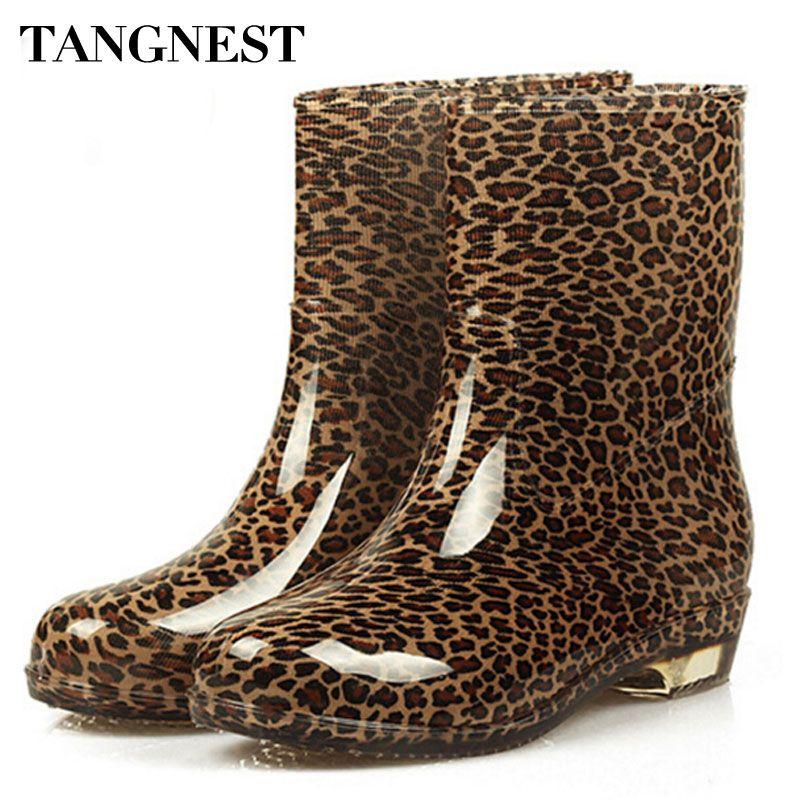 TANGNEST/Мода 2017 г. яркие женские сапоги на резиновой подошве непромокаемые полусапожки на низком каблуке с круглым носом Для женщин водонепрон...
