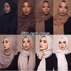 Femmes plaine maxi hijab châle d'entraînement écharpe rides musulman foulards et châles frange longue enveloppe souple silencieux vente chaude