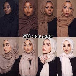 women plain maxi hijab shawl ripple scarf wrinkle muslim scarves and shawls fringe long wrap soft muffler hot sale