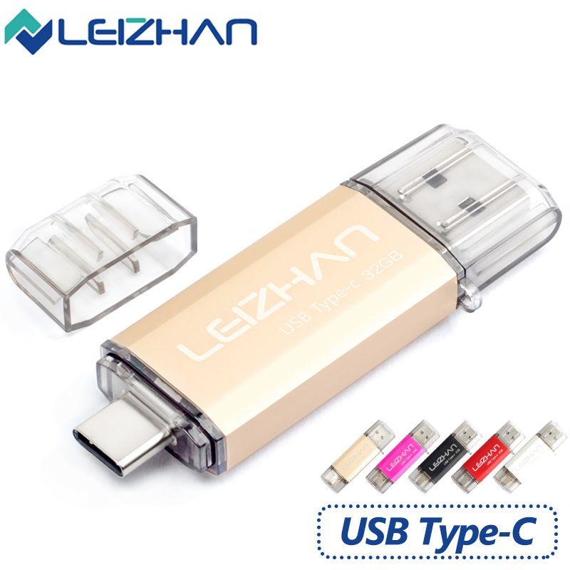 Leizhan Android 3.1 Тип-C USB Flash Drive Memory Stick 16 г usb флеш-накопитель 32 г OTG Тип C USB 3.0 Pen Drive Высокая Скорость флешки