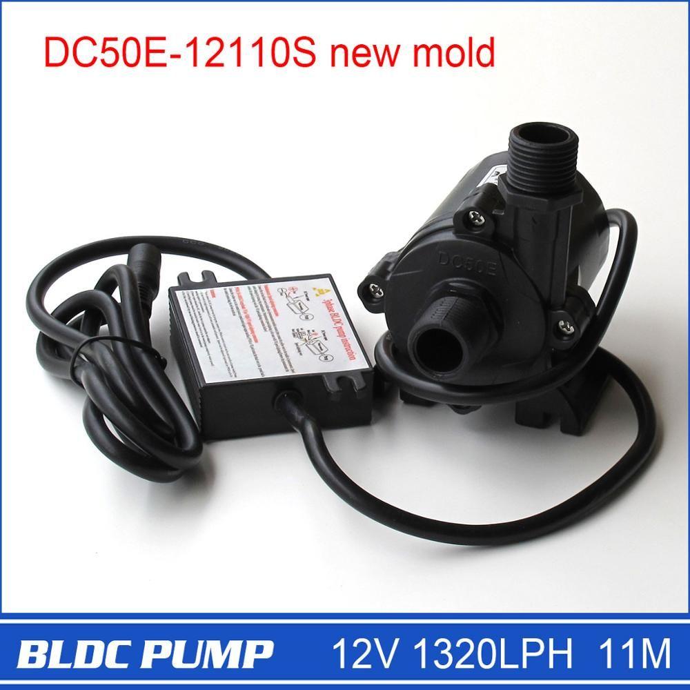 12 volts pompe à eau haute pression DC50E-12110S 1320L/H 11 M 1 pièces 5-12 V large tension opération 3 phases Compact DC pompe à eau