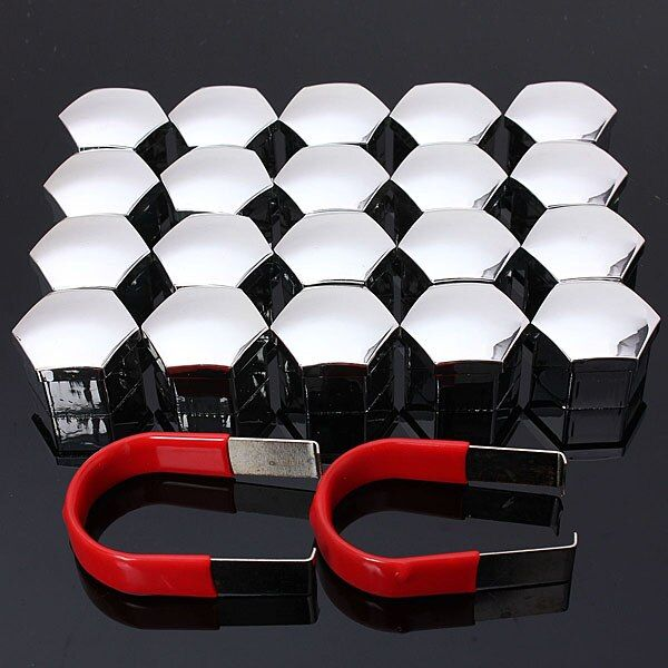 20pcs/set 19mm Car Plastic Caps Bolts Covers Nuts Alloy Wheel Protectors Matt Chrome