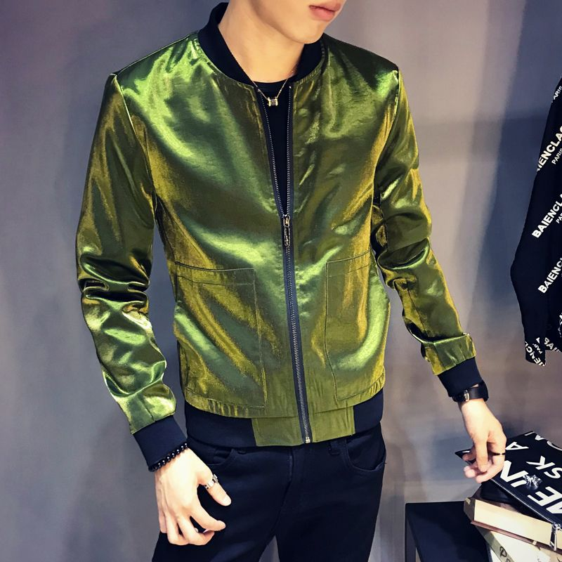 2018 Fashion Bright Jacket Men Slim Fit Autumn Bomber Jacket <font><b>Coat</b></font> Man Hiphop Streetwear Outfit Casual Windbreakers Jackets Men