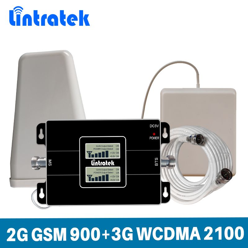 Lintratek LCD Display Dual Band Cellular Signal Repeater 2G GSM 900/3G WCDMA UMTS 2100MHz Cellphone Signal Amplifier Booster Set