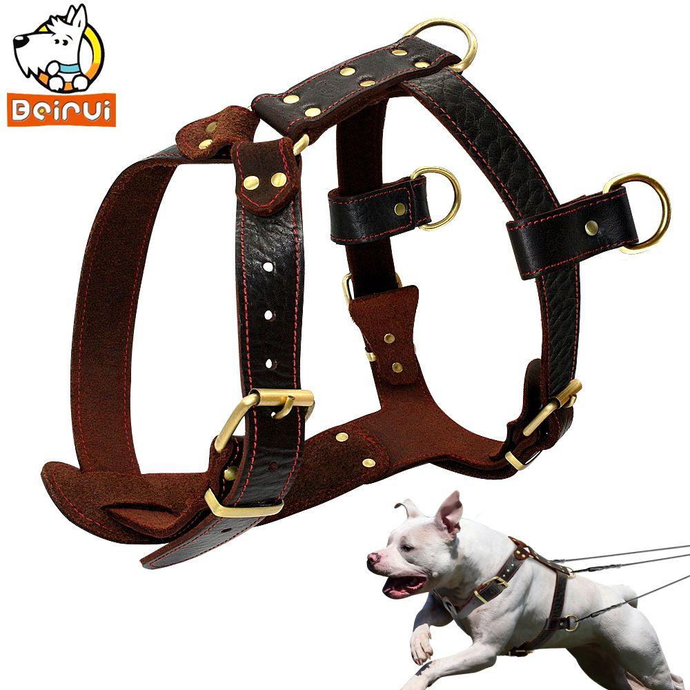 Genuine Leather Dog Harness Brown Walking Training Harnesses 23''-34.5'' Adjustable Chest Large Dogs Pitbull Alaskan Malamute