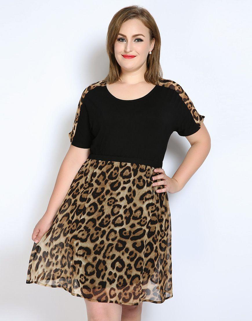 Lindo Ann Atractiva de Las Mujeres Más Tamaño Vestido de Gasa de Leopardo de Manga Corta Summer Dress Casual Partido Longitud de La Rodilla Negro 6XL 7XL