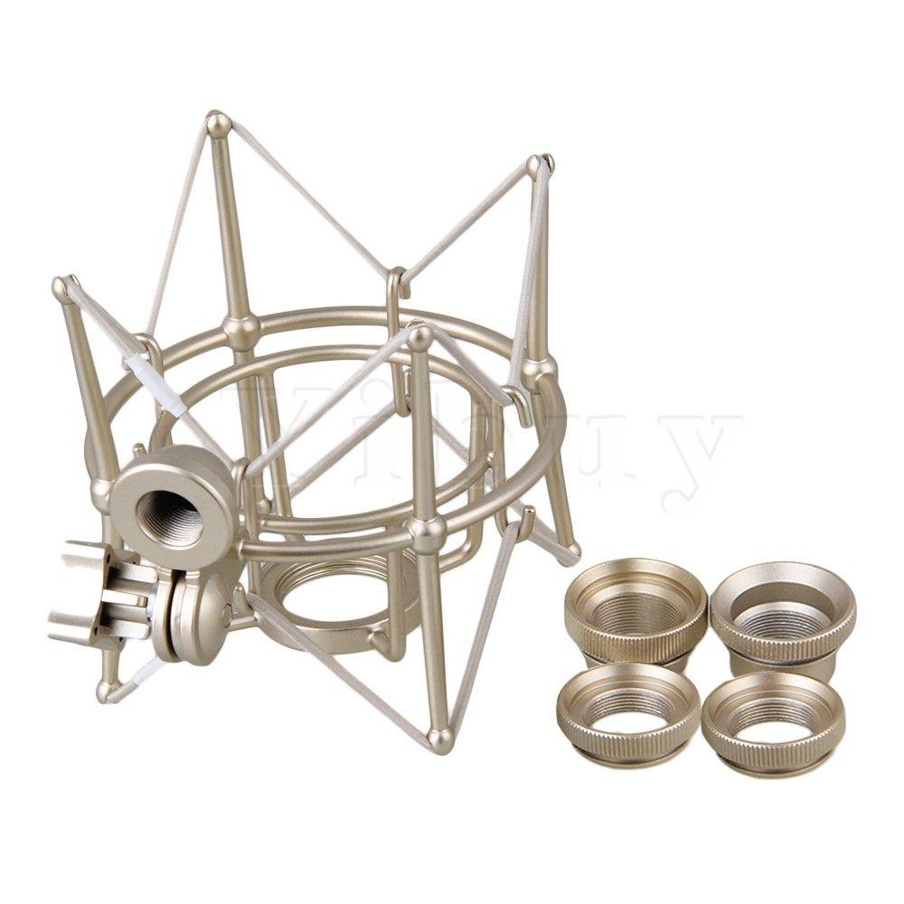 Yibuy support de montage par choc en métal argenté de grande taille pour Newman U87