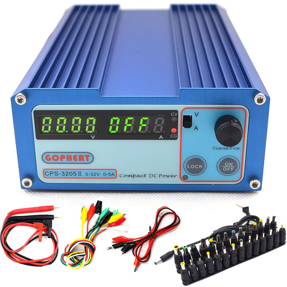 CPS-3205 II Precision Compact Digital DC Power Supply 0~32V 0~5A 0.01V/0.001A for Lab computer repair +DC Jack +10A probe