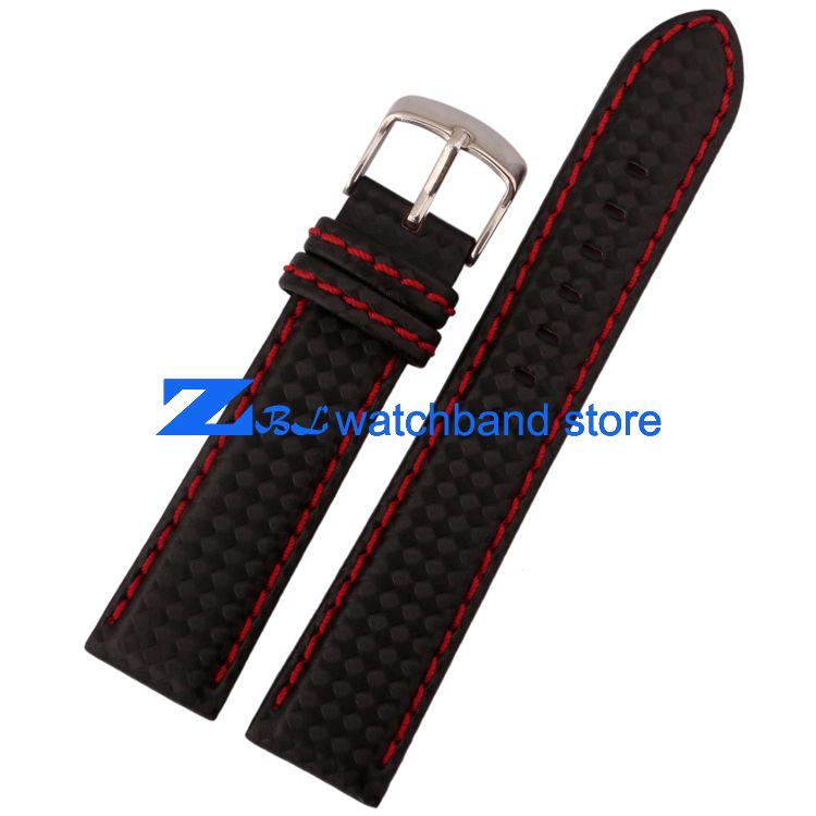 Bracelet en Fiber de carbone bracelet en cuir véritable rouge couture souple 18mm 20mm 22mm 23mm 24mm accessoires pour bracelet de montre homme