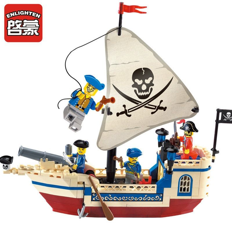 Enlighten 188Pcs Pirates Of Caribbean Bricks Bounty Pirate Ship Compatible LegoINGLY City Building Blocks Sets Toys for Children