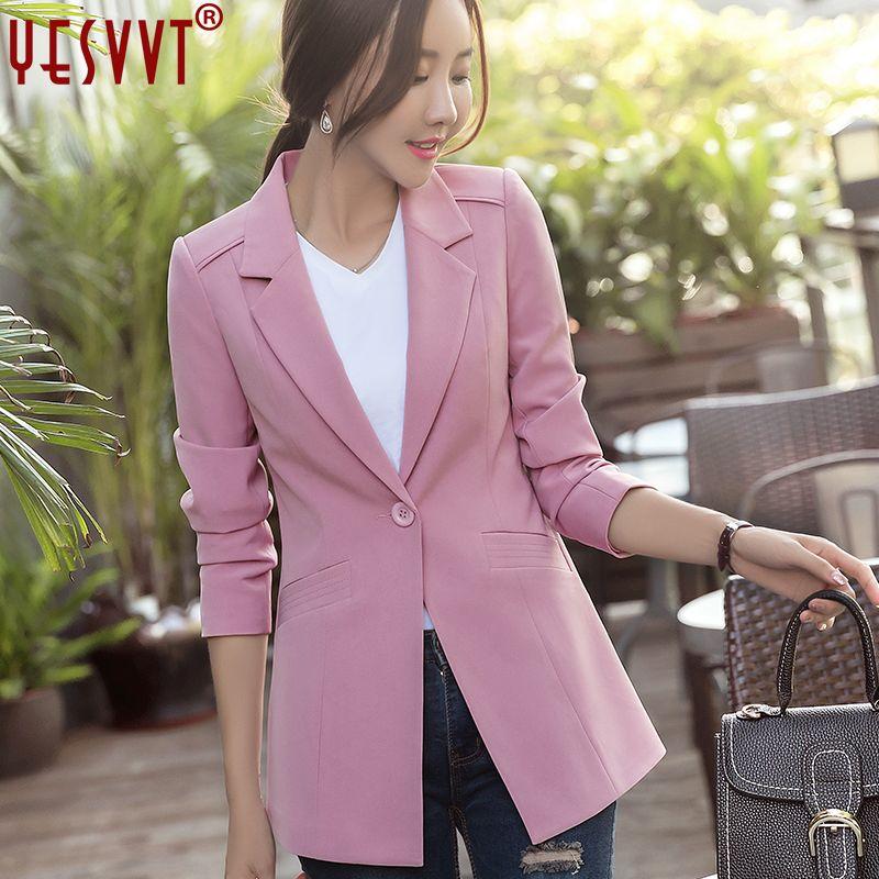 Yesvvt осенние женские пиджаки и Куртки 2017 полный рукав пиджак женщин OL пиджак женские офисные костюмы размер S-3XL