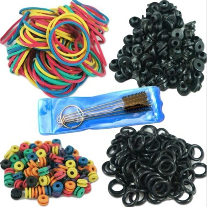 Hot Selling Tattoo Accessories Tattoo Supplies Rubber O-Rings A-bar Grommet Nipple Bands machine Cleaning Brush free shipping