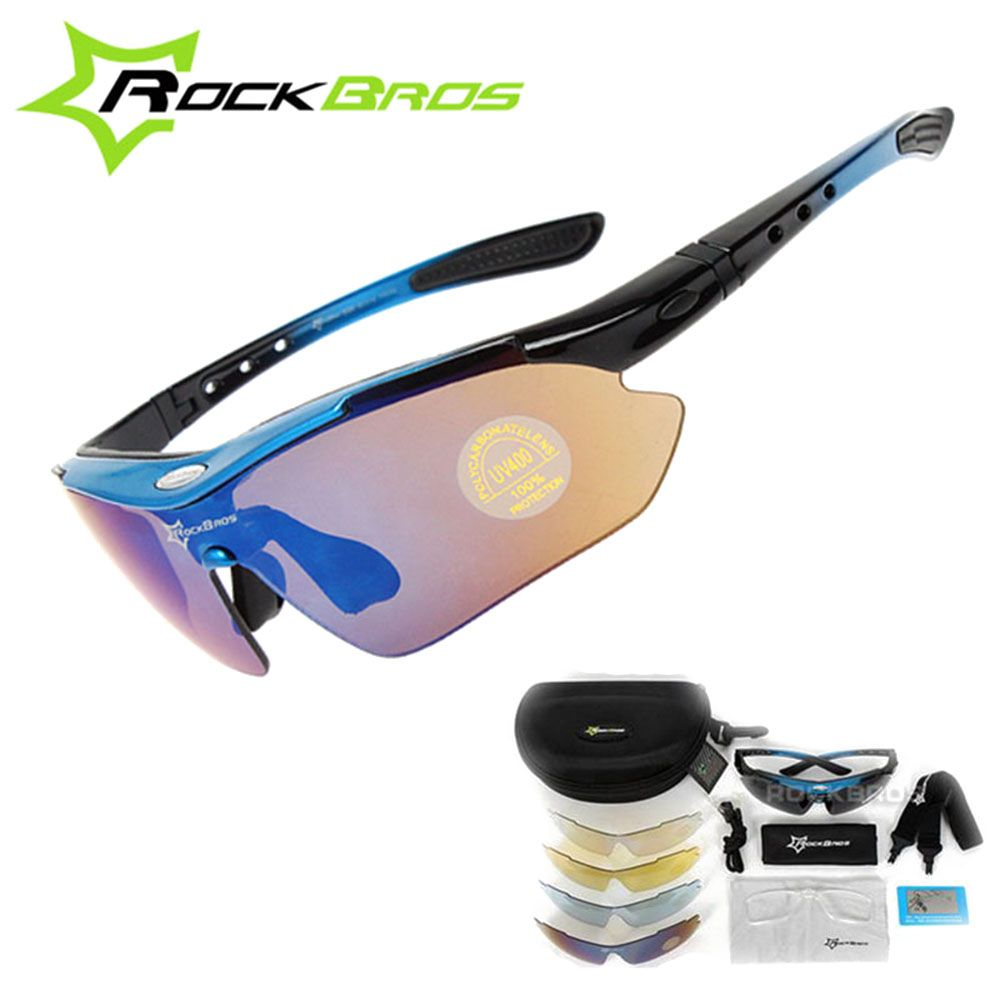 ROCKBROS Polarized Cycling Glasses Outdoor Riding Sports Bike MTB Bicycle Motorcycle Sunglasses Eyewear Oculos Ciclismo 5 Lenses