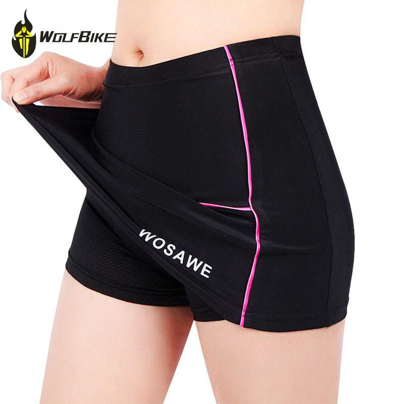 WOSAWE Shorts de cyclisme jupes femmes 4D Gel rembourré Gel noir sous-pantalon vélo vélo sous-vêtements Shorts de descente taille S-XL