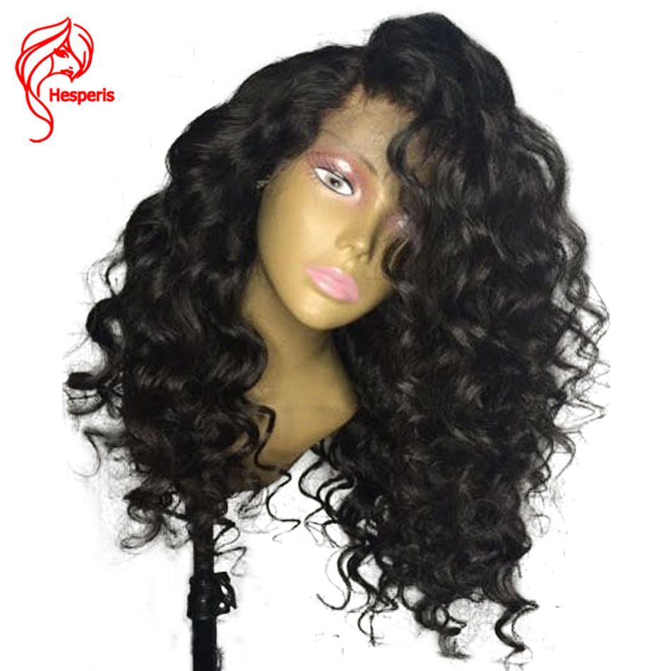 Hesperis Bouclés Pré Pincées Dégarni Sans Colle Pleine Dentelle de Cheveux Humains perruque Pour Les Femmes Noires Avec Bébé Cheveux Brésiliens Cheveux 130 densité