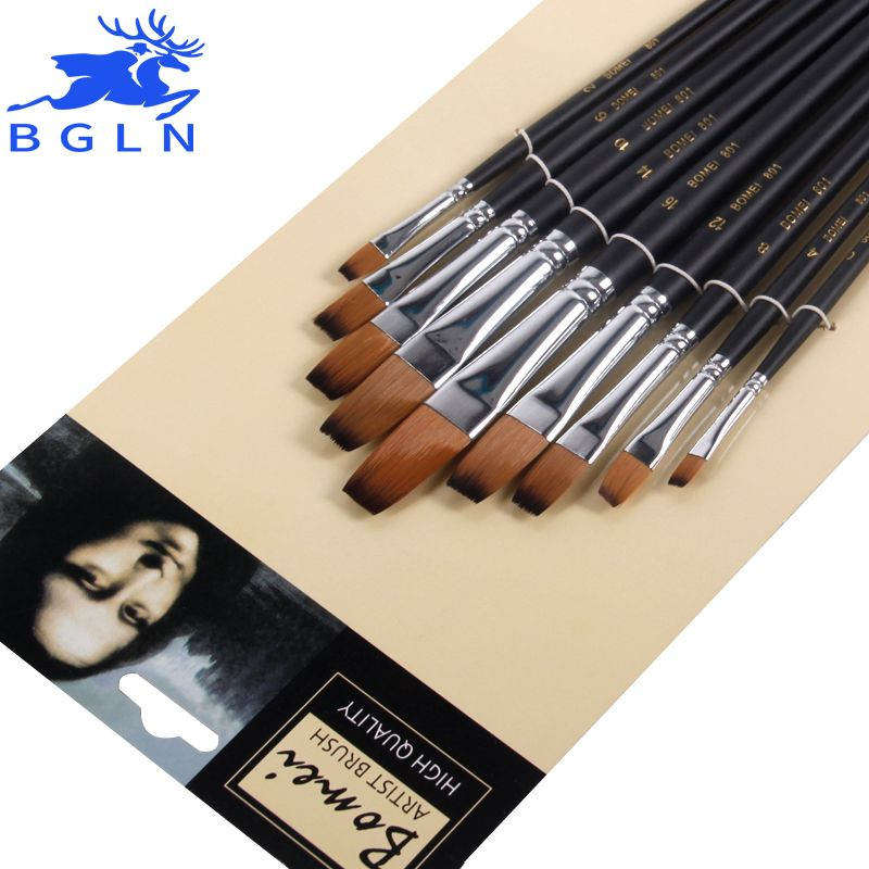 Bgln 9 pièces/ensemble brosse à peinture à l'huile en Nylon pinceau plat pour huile, stylo pinceau acrylique pincel para pintura Art fournitures 801