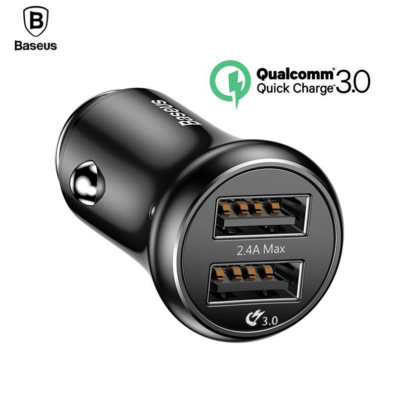 Baseus Charge Rapide 3.0 USB Chargeur De Voiture QC QC3.0 Turbo Rapide De Charge Double Chargeur De Voiture USB Pour iPhone Xs X xiao mi mi Mobile Téléphone