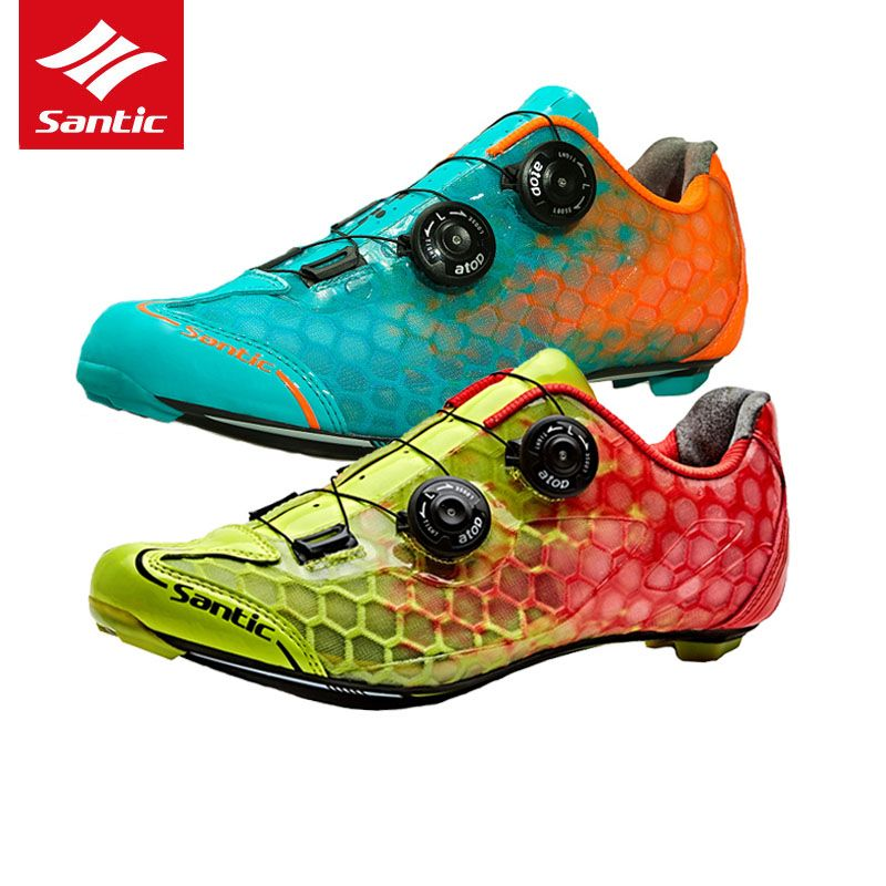 Santic Cycling Shoes Pro Racing Team Top Road Bike Shoes Carbon Fiber Ultralight Self-locking Bicycle Shoes Zapatillas Ciclismo
