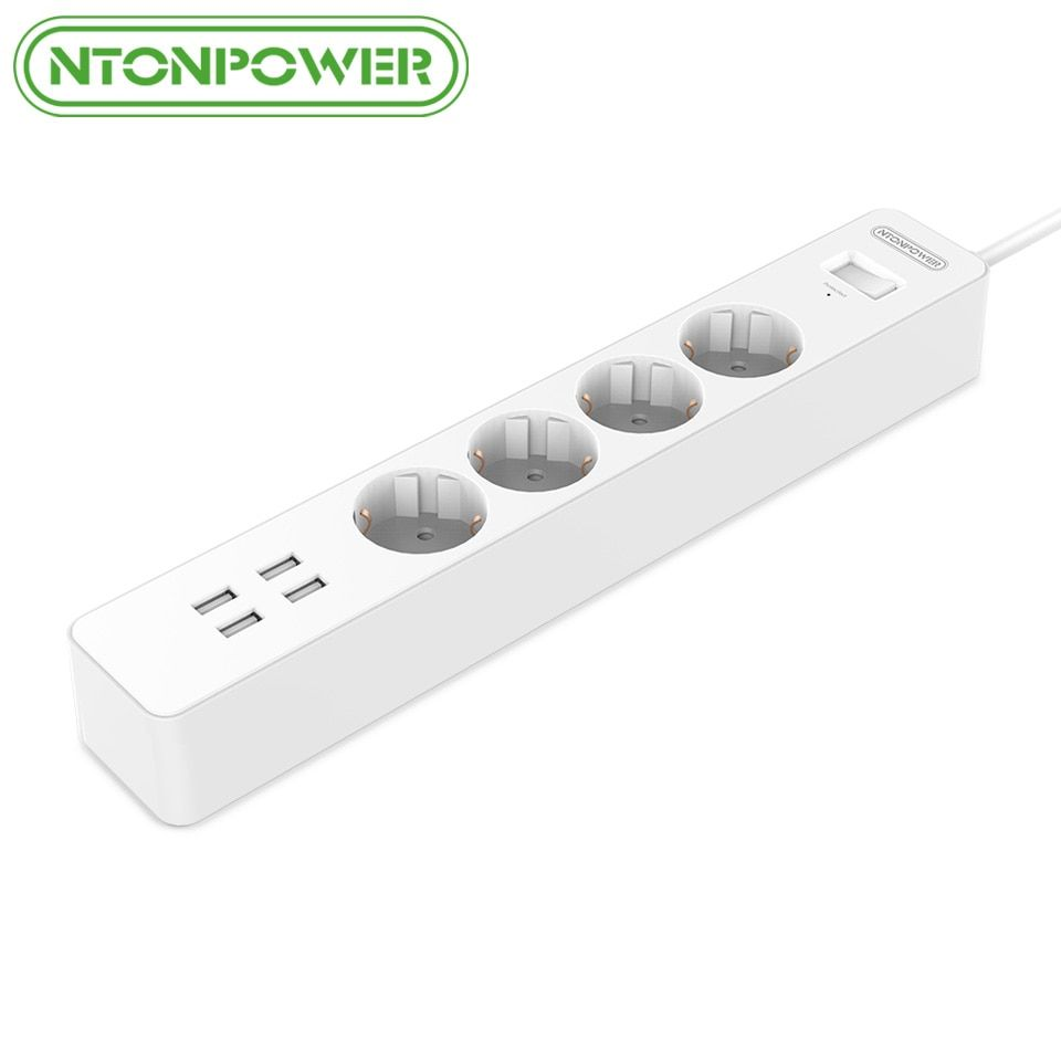 NTONPOWER NSC Smart USB Power Strip Socket EU Plug Overload Switch Surge Protector 4 Outlet 4 <font><b>Port</b></font> USB Charger - 1.8M Power Cord