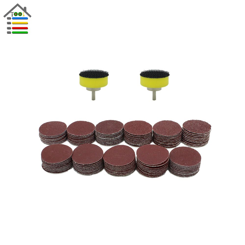 AUTOTOOLHOME 112PC 25mm 40-600 Mixed Grit Sanding Disc Sander Accessory 2.3mm Shank for Dremel Grinder Pad Abrasive Tool