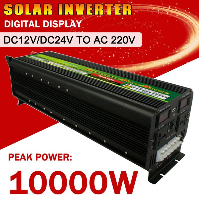 10000 watt Max 5000 watt DC 12 v/24 v zu AC 220 v Reine Sinus Solar Power Inverter LCD Display Modifizierte Sinus Welle Konverter für Solar System