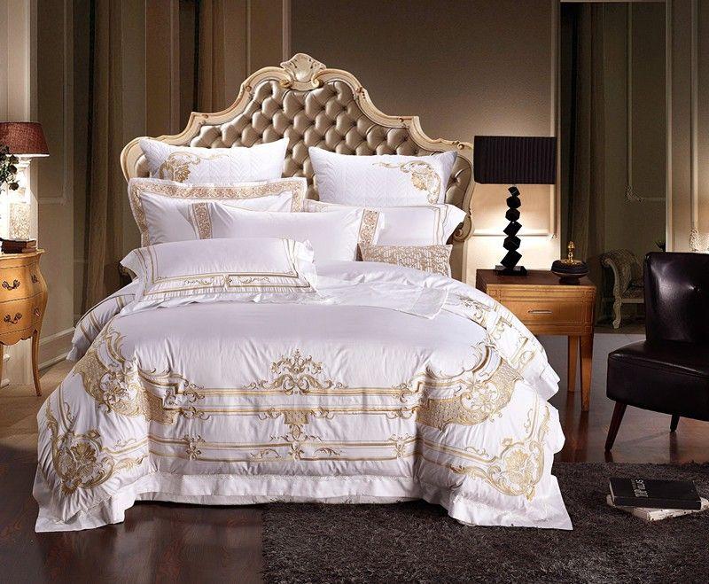 100% ägypten Baumwolle Weiß Stickerei Palace Royal Luxus Bettwäsche Setzt König Königin Größe Hotel Bett Duvet Abdeckung Bettlaken set