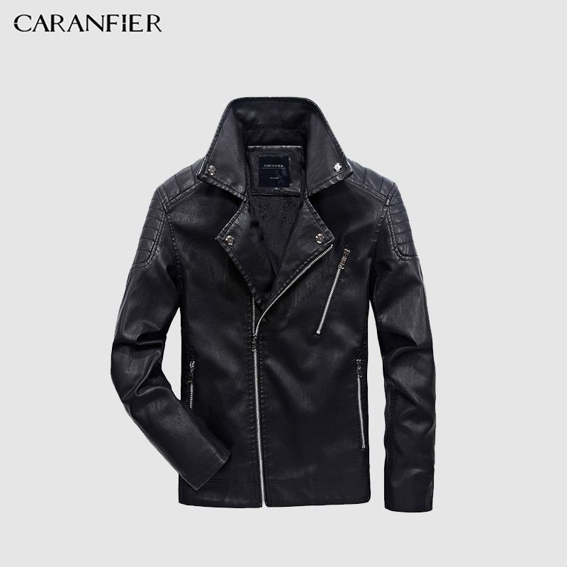 CARANFIER 2017 New Men Leather Jacket Winter Fashion High Quality PU Casual Biker Jacket Male Outerwear & Coats Plus Size 5XL