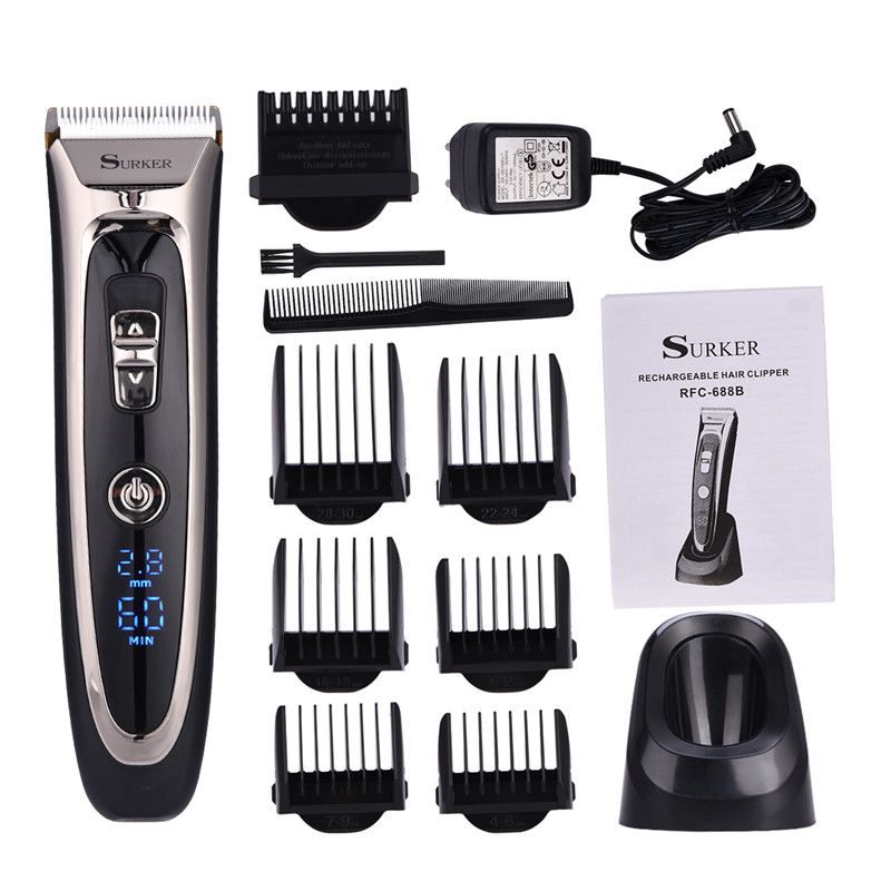Professional Digital Hair Trimmer Rechargeable Electric Hair Clipper Men's Cordless Haircut Adjustable Ceramic <font><b>Blade</b></font> RFC-688B