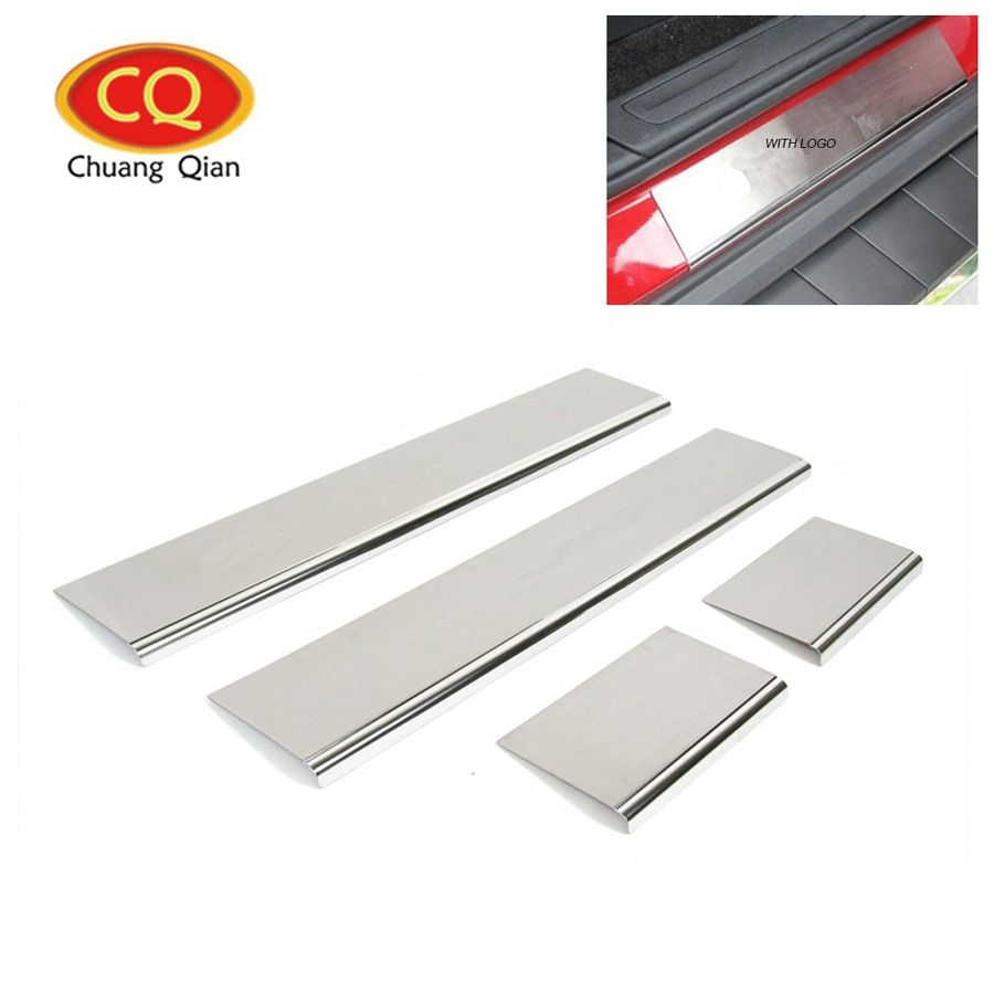 Chuang Qian For Jeep Grand Cherokee 2011-2015 Car Door Sill Scuff Plate Thresholds Pad Protector Cover 4Pcs Car Sticker