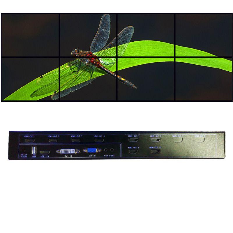 2x4 hdmi videowand-controller für lcd videowand hdmi ausgang vga dvi hdmi usb-eingang