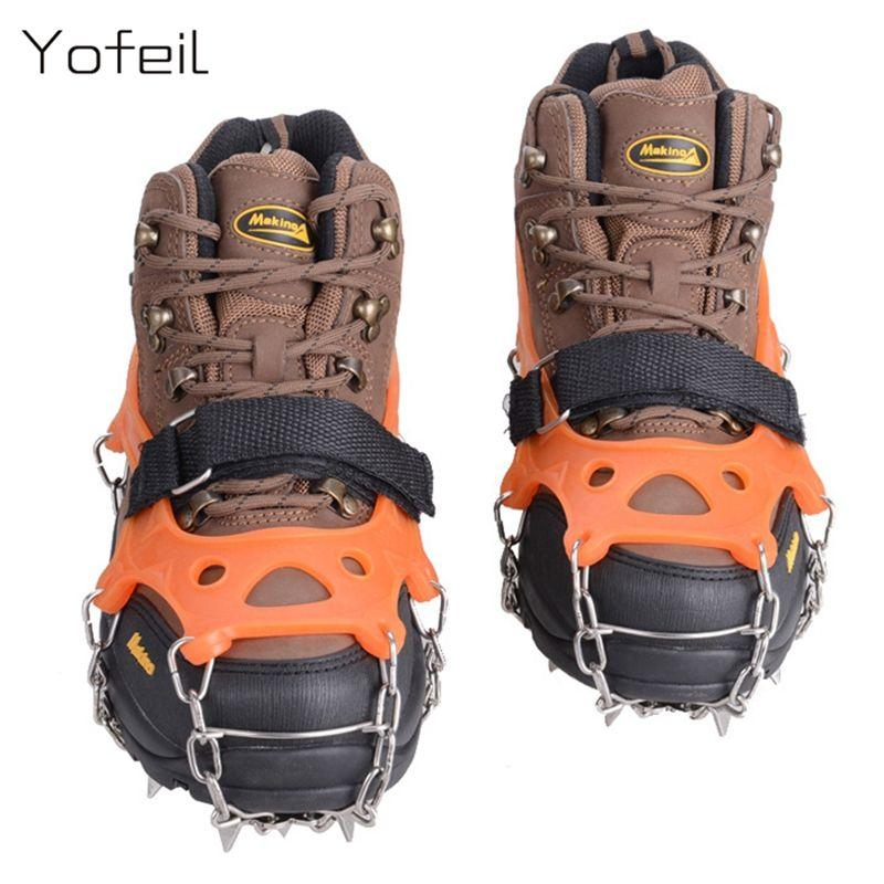 19 Zähne Klaue Traktion Steigeisen Anti-rutsch-eis Stollen Stiefel Greifer Kette Spike Sharp Outdoor Schnee Walking Klettern Schuhe abdeckung